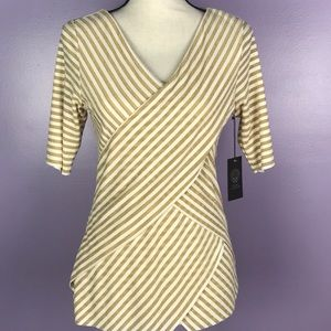 Vince Camuto Medium Golden Stripped Tiered Blouse